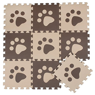 10Pcs Begie Coffee Paw Style Soft Puzzle Mats Rugs Flooring Mats For Kids Soft Foam Play Mat Jigsaw Pop-Out Mats