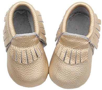Posh Baby Shoes: Genuine Leather, Hand Made, Durable, Slip-On Baby Moccasins. A Great Gift For Newborns, Infants, And Toddlers. (6-12 Months (4.7 In), Metallic Gold)