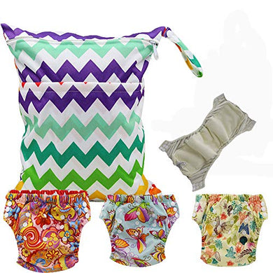 Baby Waterproof Reuseable Training Nappy Diapers 3Pcs, 1Pc Wet Dry Bag By Ohbabyka