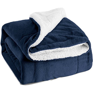 Bedsure Sherpa Throw Blanket Navy Blue Throw Size 50X60 Bedding Fleece Reversible Blanket For Bed And Couch