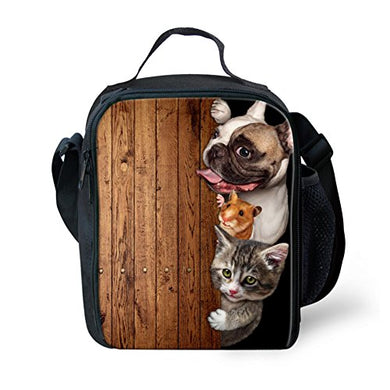 For U Designs Reusable Lunch Bags Cute Dog Cat Mouse Pattern Insulated Lunch Tote For Kids