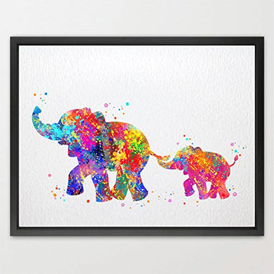 Dignovel Studios 8X10 Elephant Family Print Kids Watercolor Print Wall Art Poster Home Decor Nursery Decor New Baby Birthday Motivational Inspirational Art N175