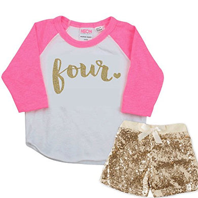 Girl Fourth Birthday Outfit, Pink And Gold 4Th Birthday Girl Outfit (4T)