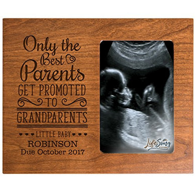 Only The Best Parents Get Promoted To Grandparents Personalized New Baby Birth Announcement Picture Frame For Newborn Boys And Girls Custom Engraved Photo Frame For New Nana, Mimi And Grandpa (Cherry)