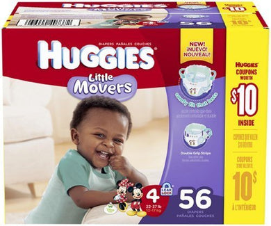 Huggies Little Movers Diapers - Size 4 - 56 Ct By Huggies