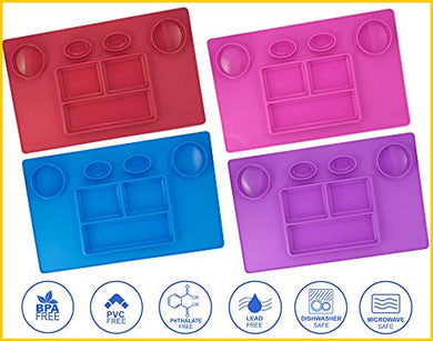 Bellee Silicone Placemat One-Piece Non Slip Silicone Child Kids Safe Baby Food Plate Divided Eating Bowl Tray Placemat - One Size -