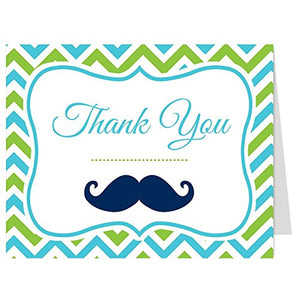 Little Man, Thank You Cards, Baby Shower, Birthday, Mustache, Boy, Aqua, Lime, Chevron Stripes, Navy, Set Of 50 Folding Notes With Envelopes, (Aqua/Lime)