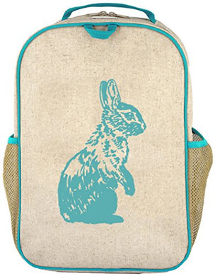 Soyoung Grade School Backpack - Raw Linen, Eco-Friendly, Non-Toxic, Retro-Inspired Design - Aqua Bunny