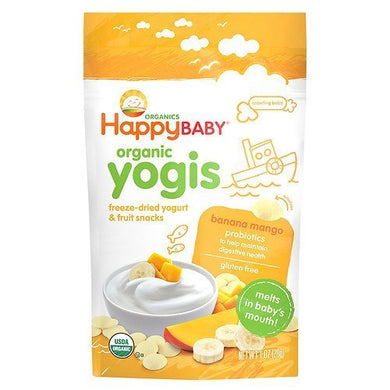 Happy Yogis Organic Yogurt & Fruit Snacks For Babies & Toddlers,Banana Mango 1 Oz