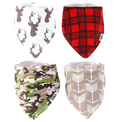 Stadela Baby Adjustable Bandana Drool Bibs For Drooling And Teething Nursery Burp Cloths Baby Shower Gift Set For Boys Hunting Adventure With Deer Antler Arrows Plaid Woodland Forest Animal