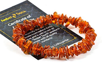Baltic Amber Bracelet For Adults Made On Elastic Band - 7 Inches - Hand-Made/Certified Baltic Amber Beads (Cognac)