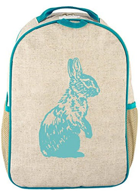 Soyoung Toddler Backpack - Raw Linen, Eco-Friendly, Non-Toxic, Retro-Inspired Design - Aqua Bunny