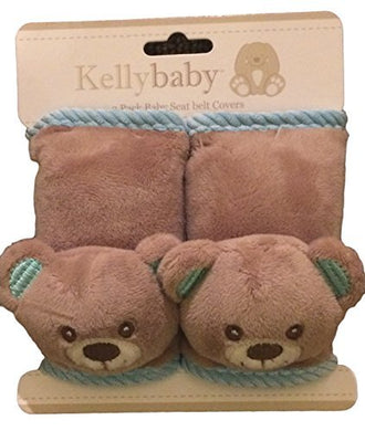 Kellybaby Bear Infant Seat Belt Carseat Strap Covers For Travel And Comfort, Plus Protection From Strap Burn In Carseat And Strollers