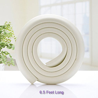 Sxctech - 6.5 Ft Extra Wide And Thick Safe Edge And Corner Cushion Guard. Baby And Child Proof Table And Furniture Safety Protection (Ivory White)