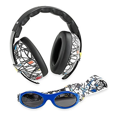 Baby Banz Earmuffs And Infant Hearing Protection And Sunglasses Combo 0-2 Years (Squiggle)