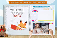 Load image into Gallery viewer, First Year Baby Memory Book. Keepsake Journal, Unisex Photo Album &Amp; Scrapbook + 12 Monthly Stickers For Boy &Amp; Girl. Perfect Shower Gift For New Parents