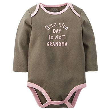 Carters Baby Clothing Outfit Girls Visit Grandma Bodysuit Green Nb
