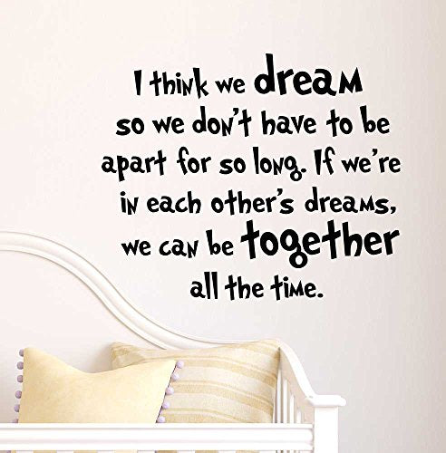 I Think We Dream So We Don'T Have To Be Apart For So Long If We'Re In Each Other'S Dreams, We Can Be Together All The Time. Cute Nursery Wall Vinyl Decal Quote Art Saying Sticker Stencil Decor