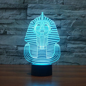 Superniudb 3D Egypt Sphinx Pharaoh Lamp 3D Night Light Table Desk Optical Illusion Lamps 7 Color Changing Lights