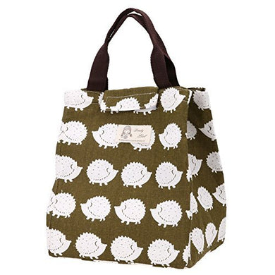 Whitelotous Cute Canvas Tote Bag Thermal Cooler Insulated Lunch Bag Portable Picnic Bag (Hedgehog)