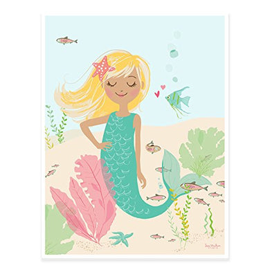 Sea Urchin Studio Mermaid Blonde Art Poster, Pastel, 12  X 16
