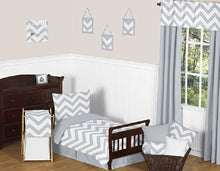 Load image into Gallery viewer, Grey Toddler Bed Skirt For Gray And White Boys Or Girls Chevron Kids Childrens Bedding Sets