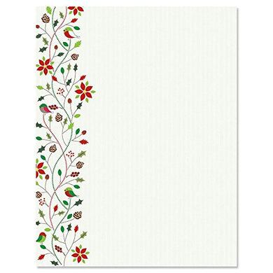 Holiday Twist Christmas Letter Papers - Set Of 25 Christmas Stationery Papers Are 8 1/2  X 11 , Compatible Computer Paper