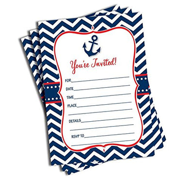 50 Nautical Invitations And Envelopes - Red &Amp; Navy (Large Size 5X7)