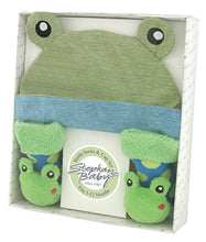 Load image into Gallery viewer, Stephan Baby Rattle Socks And Knit Cap Gift Set, Stripy Blue/Green Frog