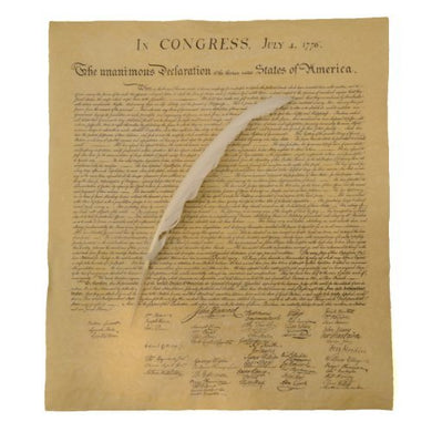 Us Declaration Of Independence W/ Quill Writing Dip Ink Pen Model: