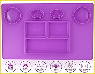 Bellee Silicone Placemat One-Piece Non Slip Silicone Child Kids Safe Baby Food Plate Divided Eating Bowl Tray Placemat - One Size - (Purple)