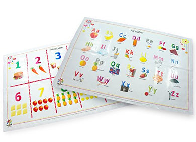 Alphabet And Numbers Disposable Placemats For Baby And Toddlers 60-Count (2 Designs) Bpafree
