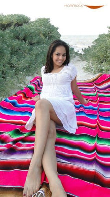 Mexican Sarape Saltillo Blanket (X-Large, Pink) Beach *000203*