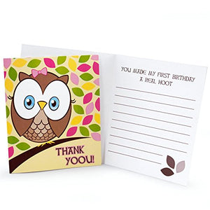 1St Birthday Owl Party Look Whoo'S 1 Pink Thank-You Notes (8)