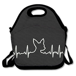 Dog Heartbeat Chihuahua Lunch Box Bag For Kids And Adult,Lunch Tote Lunch Holder With Adjustable Strap For Men Women Boys Girls,This Design For Portable, Oblique Cross,Double Shoulder