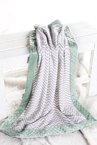 Bacati Ikat Zigzag Chevron With Border Plush Blanket, Grey/Mint, 30  X 40