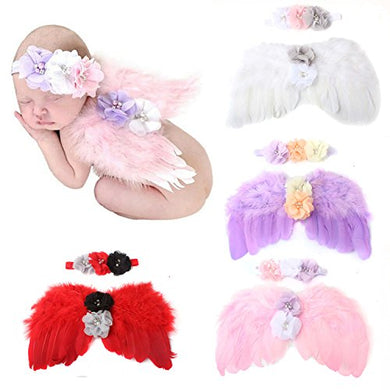 Wzt 4 Sets Feather Angel Wings Rhinestone Headband Set Baby Chiffon Flower Headband Hair Accessories Newborn Photo Prop Costume