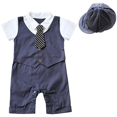 Feeshow Baby Boys' Short Sleeve Gentleman Romper With Hat 2Pcs Outfit Set Size 9-12 Months Navy Blue