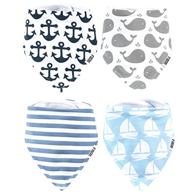 Stadela Baby Adjustable Bandana Drool Bibs For Drooling And Teething Nursery Burp Cloths Baby Shower Gift Set For Boys - Nautical For Sailor With Whales Anchors Stripes Boats Yachts