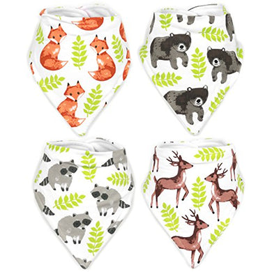 Stadela Baby Adjustable Bandana Drool Bibs For Drooling And Teething Nursery Burp Cloths Unisex Baby Shower Gift Set For Girl And Boy  Enchanted Forest Woodland Animal Fox Bear Deer Raccoon