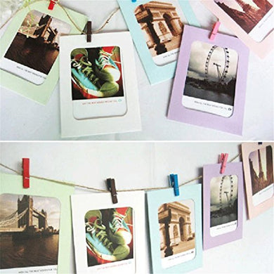 Gotd Wall Decor Diy Paper Photo Picture Frames 4X6  Hanging Film Frame Set With 7Pcs Mini Clothespins And Long Rope For Living Room Bedroom 6  (1, Multi-Color)