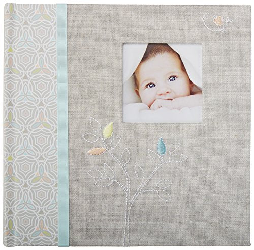 C.R. Gibson'S Gray Linen Baby Photo Album Baby Photobook, 9.3 X 9.1 X 1.8 Inches, 80 Pages