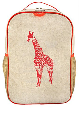 Soyoung Grade School Backpack - Raw Linen, Eco-Friendly, Non-Toxic, Retro-Inspired Design - Orange Giraffe