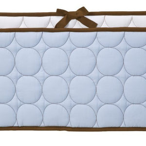 Bacati Quilted Circles Blue And Chocolate Bumper Pad