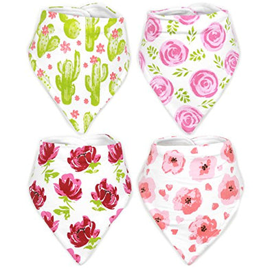 Stadela Baby Adjustable Bandana Drool Bibs For Drooling And Teething Nursery Burp Cloths Baby Shower Gift Set For Girls  In Bloom With Cactus Floral Western Desert Flowers Southwest