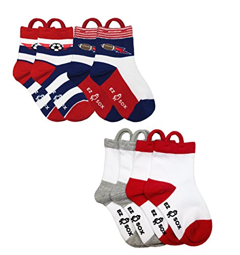 Kids Socks With Easy Pull Loops And Seamless Toe, Soccer, Football, Solid White