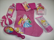 Load image into Gallery viewer, 7Pc Disney Princess Bath & Fun Bundle Gift Set With Festive Pink Princess Stocking, Berry Bliss 7Oz Body Wash, Bubble Bath, Royal Berry Moisturizing Hand Soap, Princess Pink Hair Brush, Pink & White Body Puff & Princess Pocket Tissues