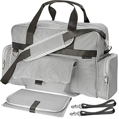 Diaper Bag | Baby Tote Bags | Waterproof | Unisex | Gray And Cream Stripe By Obeanie