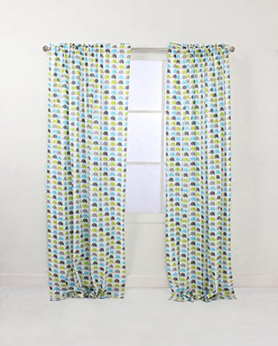 Bacati - Elephants Aqua/Lime/Grey Mini Elephants Curtain Panel