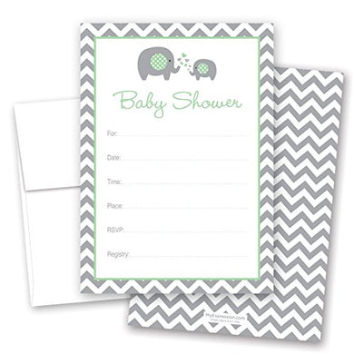 Myexpression.Com 24 Cnt Mint Elephant Baby Shower Fill-In Invitations